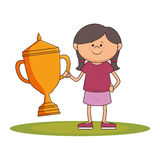 little kid with champion trophy Stock Photos