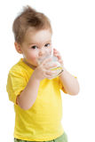 Little kid or child drinking dairy product Royalty Free Stock Photo