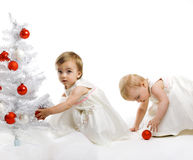 Little kid with a christmas tree royalty free stock photos