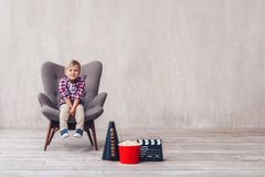 Little kid in cinema royalty free stock photos