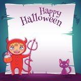 Little kid in costume of devil with black kitten. Happy Halloween party. Editable template with text space. Poster with little kid in costume of devil with stock illustration