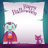 Little kid in costume of vampire with black kitten. Happy Halloween party. Editable template with text space. Poster with little kid in costume of vampire with royalty free illustration