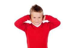 Little kid covering the ears Royalty Free Stock Image