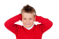 Little kid covering the ears Royalty Free Stock Photo