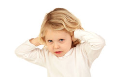 Little kid covering the ears Royalty Free Stock Images