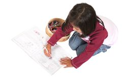 Little kid drawing pictures Royalty Free Stock Images