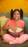 Little Kid Eats Popcorn Royalty Free Stock Image