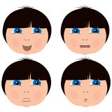 Little kid face expressions Stock Images