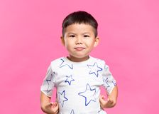 Little kid feeling nervous. Asian young little boy royalty free stock photo
