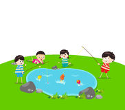 Little Kid Fishing Stock Image