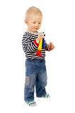 Little kid, and football beep Royalty Free Stock Photography
