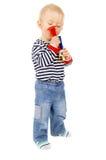Little kid, and football beep Stock Image