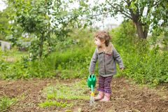 Little kid in the garden Royalty Free Stock Photography