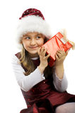 Little kid with a gift Stock Photos