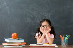 Free Little Kid Girl Back To School Sitting In Class Royalty Free Stock Image - 108924806