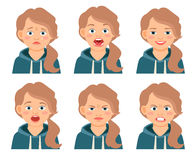 Little kid girl face expressions. Isolated on white background. Frowning and frightened, afraid and angry girls cartoon emotions. Vector illustration Stock Images