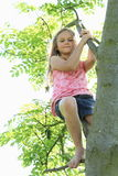 Little kid - girl hanging on branch Royalty Free Stock Photography