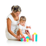 Little kid girl and mother playing together Royalty Free Stock Photos