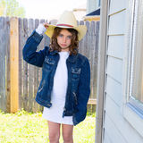 Little kid girl pretending to be a cowboy Royalty Free Stock Image