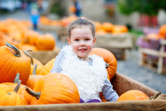 Little kid girl on pumpkin farm celebrating thanksgiving Royalty Free Stock Photos