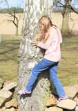 Little kid - girl surrounding a trunk Royalty Free Stock Photo