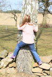 Little kid - girl surrounding a trunk Royalty Free Stock Image