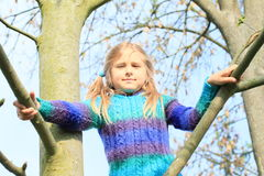 Little kid - girl on tree Royalty Free Stock Photos