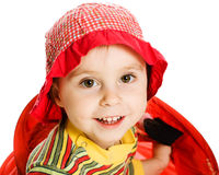 Little kid hiding. Little kid looking out of basket on a white background Stock Photos