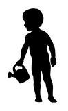 Little kid holding a watering can Stock Photos