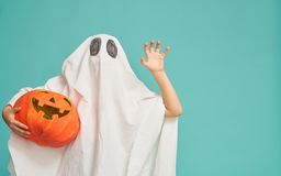 Free Little Kid In Ghost Costume Stock Photography - 157622172