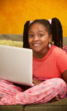 Little Kid With Laptop Royalty Free Stock Image