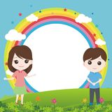 Little kid with lovely landscape and rainbow. Simple, cute, and funny illustration Stock Photo