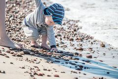 Little kid near sea, taking stones royalty free stock photo
