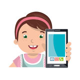 Little kid online with smartphone Royalty Free Stock Photo