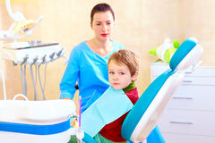 Little kid, patient at examination in dental clinic Royalty Free Stock Image