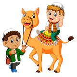 Little kid riding camel. Illustration of Little kid riding camel Stock Photography