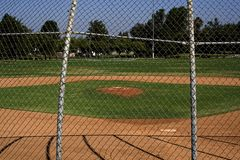 Little Kid's Ballpark. A baseball field at a local elementary school in Irvine, CA Stock Photo