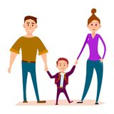Little Kid Stands with Heavy Daddy and Shapely Mom Royalty Free Stock Images