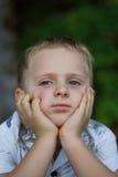 Little kid thinking stock photos