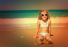 Little kid at vacations on sea Royalty Free Stock Image
