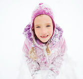 Little kid in winter Stock Photos