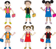 Little Kids of all races at School. Little Kids of all races ready for school with their backpacks on vector illustration