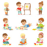 Little Kids In Art Class In School Doing Different Creative Activities, Painting , Working With Putty And Cutting Paper. Children And Creativity Set Of Cute Royalty Free Stock Photography