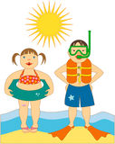 Little Kids at the Beach. Vector Illustration of two cute little kids at the beach with innertube, life jacket, snorkel and mask and swim fins. Can be reproduced Royalty Free Stock Photo