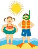 Little Kids at the Beach stock illustration