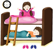 Little kids on bunk bed Stock Image