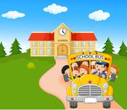Little kids cartoon are going to home Stock Images