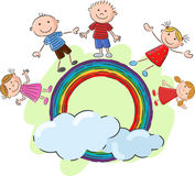 Little kids cartoon standing on the rainbow Royalty Free Stock Images