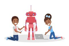Little kids consctructing a robot toy together vector illustration