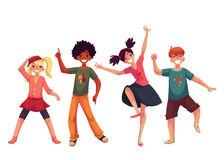 Little kids dancing expressively, cartoon style vector illustration Royalty Free Stock Photo